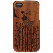 iPhone Wooden Case - Forest Bird Design