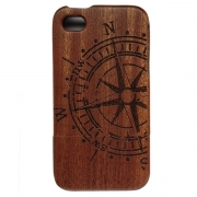 iPhone Wooden Case - Vintage Compass Design