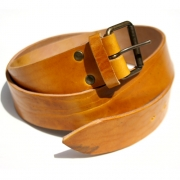 Leather Reuben Belt - Yellow Ochre