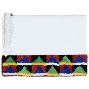 Parcel and Journey - Small Geometric Beaded Bag (White)