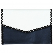 Parcel and Journey - Leather Envelope Clutch Bag (Navy)