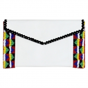 Parcel and Journey - Leather Clutch Bag with Panel Beading (White)